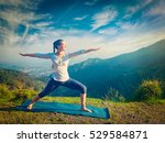 yoga outdoors   sporty fit... | Shutterstock . vector #529584871