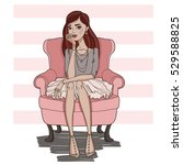 fashion girl sitting in pink... | Shutterstock .eps vector #529588825