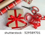 wrapping paper with gifts on... | Shutterstock . vector #529589701