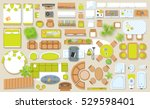 icons set of interior  top view ... | Shutterstock .eps vector #529598401