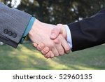 two businessmen hands handshake ... | Shutterstock . vector #52960135