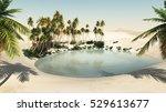 Oasis In The Desert Sand. Lake...