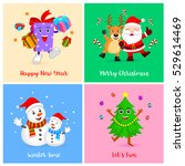 cute christmas characters.... | Shutterstock .eps vector #529614469