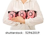 businesswoman holding three... | Shutterstock . vector #52962019