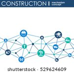 construction network. hexagon... | Shutterstock .eps vector #529624609