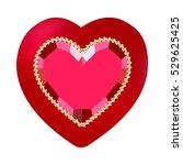 pretty ruby heart on velvet... | Shutterstock .eps vector #529625425