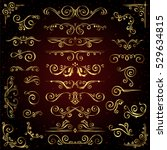 victorian vector set of golden... | Shutterstock .eps vector #529634815
