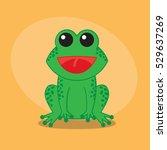 frog cartoon flat cute card on... | Shutterstock .eps vector #529637269