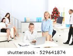 young colleagues in office... | Shutterstock . vector #529641874