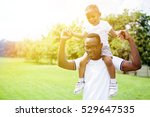 happy and cheerful father and... | Shutterstock . vector #529647535