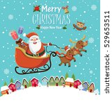 vintage christmas poster design ... | Shutterstock .eps vector #529653511