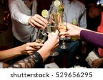 people clang their glasses with ... | Shutterstock . vector #529656295