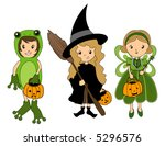 kids in halloween costumes  ... | Shutterstock .eps vector #5296576