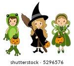 kids in halloween costumes  ... | Shutterstock .eps vector #5296576