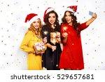 portrait of three happy young... | Shutterstock . vector #529657681
