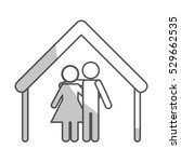 house shape with happy couple... | Shutterstock .eps vector #529662535