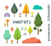 set of flat forest  tree and... | Shutterstock .eps vector #529666489