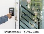 close up hand inserting keycard ... | Shutterstock . vector #529672381