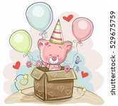 birthday card with a cute...   Shutterstock . vector #529675759