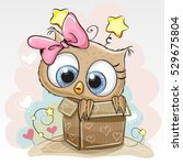 birthday card with a cute... | Shutterstock . vector #529675804