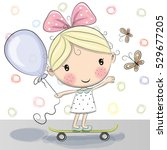 cute cartoon girl with balloon... | Shutterstock . vector #529677205