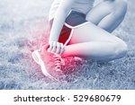 sport woman ankle injury in... | Shutterstock . vector #529680679