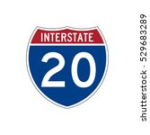 interstate highway 20 road sign | Shutterstock .eps vector #529683289