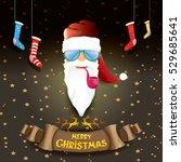 vector bad rock n roll dj santa ... | Shutterstock .eps vector #529685641