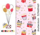 watercolor birthday greeting... | Shutterstock .eps vector #529689469