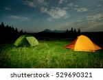 twp illuminated camping tents... | Shutterstock . vector #529690321