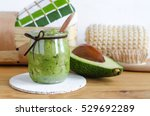 homemade avocado mask in a...   Shutterstock . vector #529692289