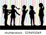 black silhouettes of girls on a ... | Shutterstock .eps vector #529693369