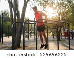 fit man doing triceps dips on... | Shutterstock . vector #529696225
