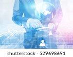 double exposure of businessman. ... | Shutterstock . vector #529698691