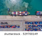 container ship in export and... | Shutterstock . vector #529700149