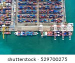 container ship in export and... | Shutterstock . vector #529700275