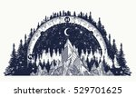 Mountain antique compass and wind rose tattoo. Adventure, travel, outdoors art symbols. Boho style, t-shirt design. Compass and mountains mystical tattoo | Shutterstock vector #529701625