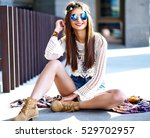 funny stylish sexy smiling... | Shutterstock . vector #529702957