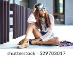 funny stylish sexy smiling... | Shutterstock . vector #529703017