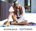 funny stylish sexy smiling... | Shutterstock . vector #529703065