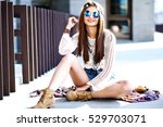 funny stylish sexy smiling... | Shutterstock . vector #529703071
