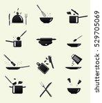 cooking icons. kitchen utensils ...   Shutterstock .eps vector #529705069