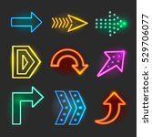 neon realistic arrows signs ... | Shutterstock .eps vector #529706077