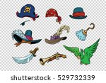 pirate set of knives and hats | Shutterstock .eps vector #529732339