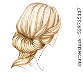 a sketch of a female hairstyle. ... | Shutterstock .eps vector #529735117