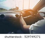 male driver hands holding... | Shutterstock . vector #529749271