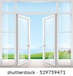 door with window to the terrace ... | Shutterstock .eps vector #529759471