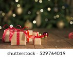 christmas gifts on wood ... | Shutterstock . vector #529764019