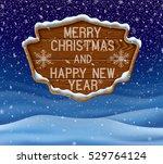 winter landscape with wooden... | Shutterstock .eps vector #529764124