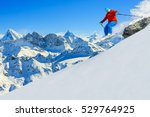 skiing with amazing view of... | Shutterstock . vector #529764925